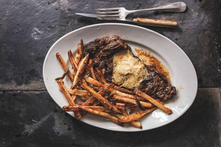 David Lebovitz's Steak Frites with Mustard Butter