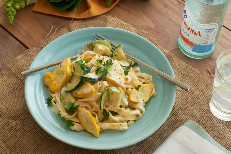 Zucchini and Yellow Squash Fettuccini Alfredo