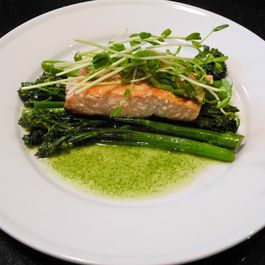 Olive Oil Poached Salmon with Braised Broccoli Rabe and Pea Shoot Coulis