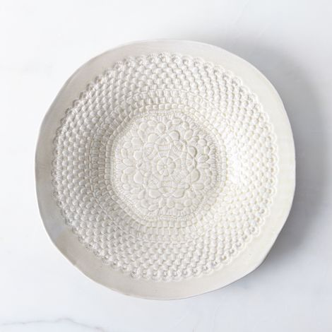 Handmade Round Platter with Lace Detail