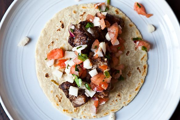 Braised Pork Belly Tacos with Watermelon, Jicama & Jalapeo Salsa