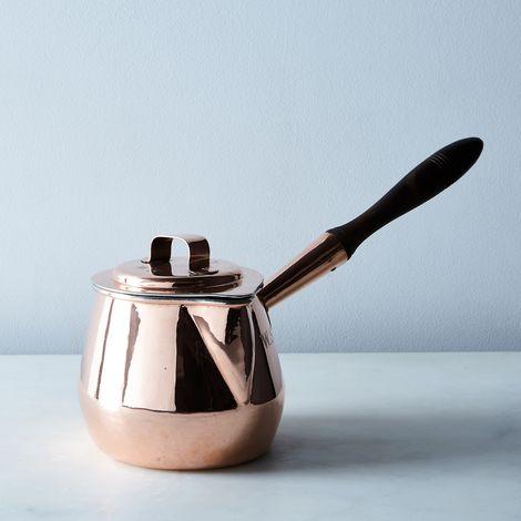 Vintage Copper Pot Bellied Saucepan with Spout, Mid 19th Century