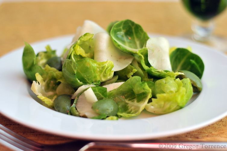 Brussels Sprout Leaf, Jerusalem Artichoke & Castelvetrano Olive Salad with Meyer Lemon Vinaigrette
