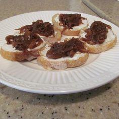 Goat-Ricotta Crostini with Spicy Onion & Garlic Jam