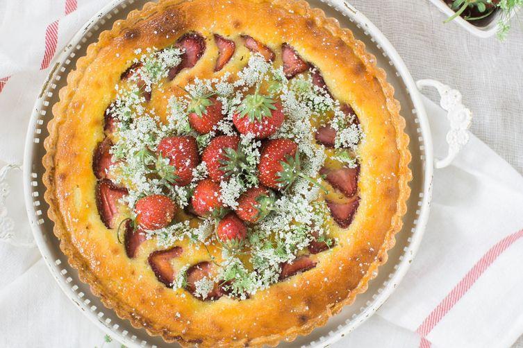 Roasted Strawberry-Tomato Tart with Elderflower Frangipane