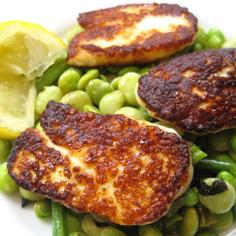 Lemony bean ragout with crispy fried haloumi