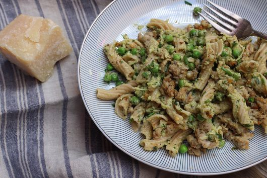 Whole Wheat Torchiette Pasta with Artichoke Pesto, Peas, and Italian Sausage