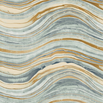 Travertine Aquamarine & Gold, Walnut Wallpaper