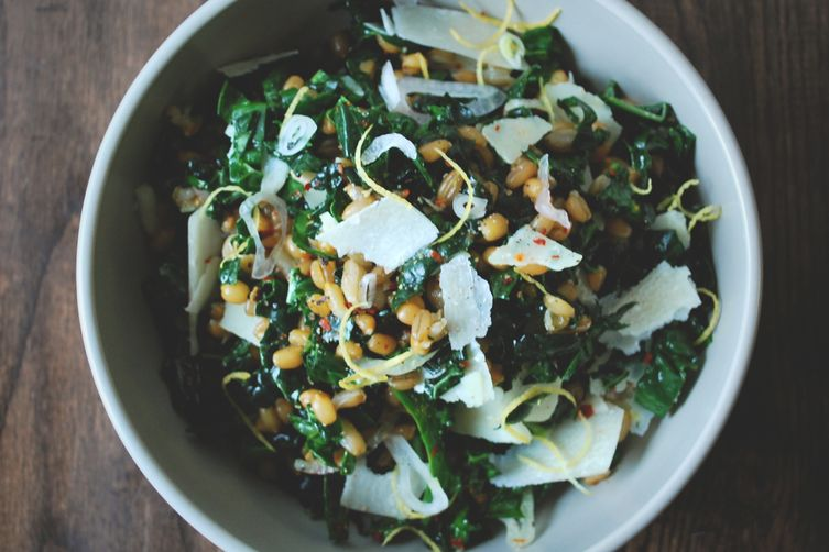wheat berry, rye & kale salad
