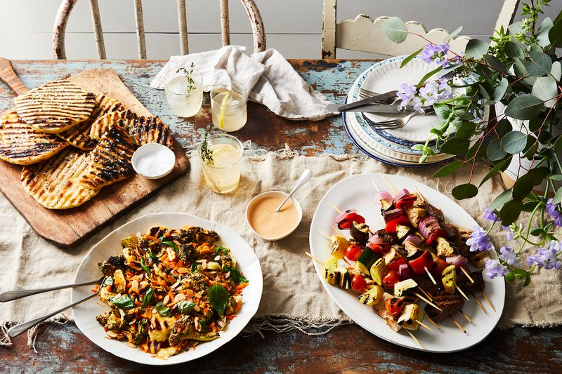 Skewers and a sturdy salad that share the same marinade mean streamlined prep.