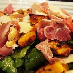 Roasted pumpkin, Serrano ham & Manchego cheese autumn salad