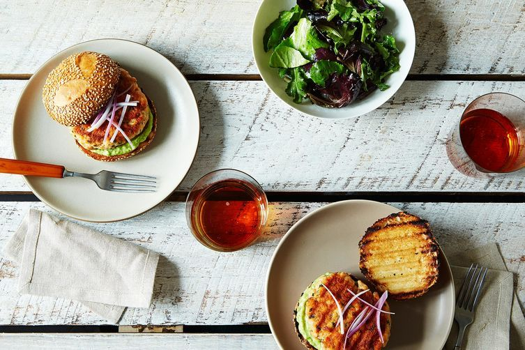 Salmon Burgers with Avocado Aioli on Food52