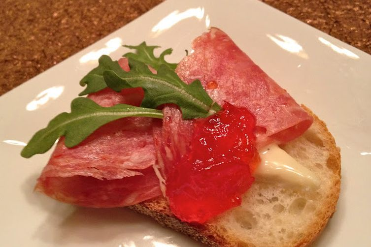 Truffle Tremor, Hot Soppressata and Pepper Jelly Crostini