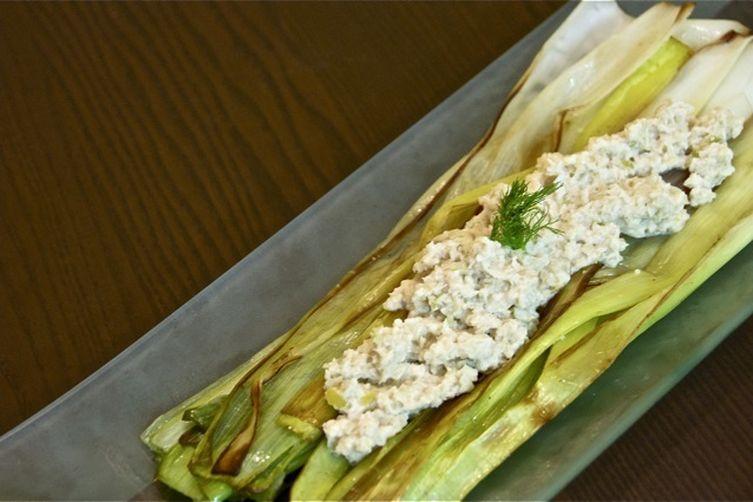 Sauteed Leeks with Horseradish, Fennel and Apple Chutney