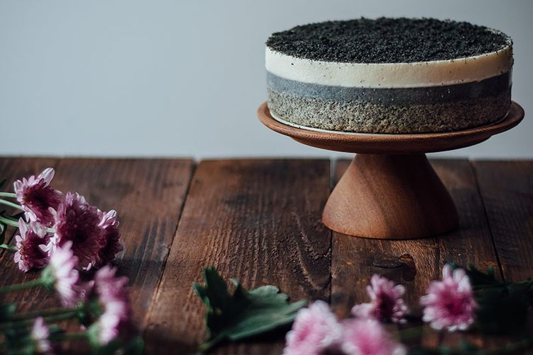 Black Sesame and White Chocolate Mousse Cake