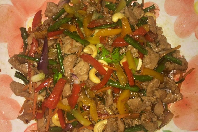 Stir fried pork and veggies with honey and soy