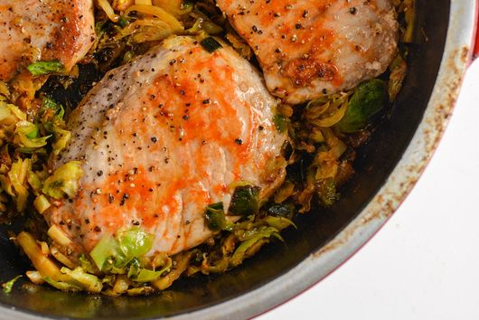 Sriracha and Honey Glazed Pork with Brussels Sprouts
