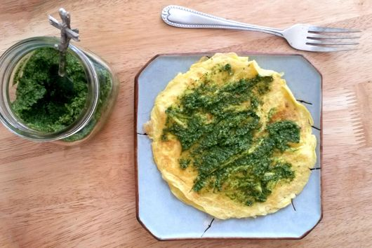Parmesan Omelette with Green Team Pesto