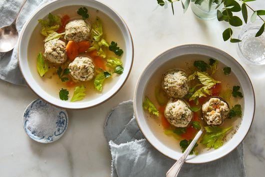 Chicken–Stuffed Matzo Balls (aka Inside-Out Matzo Ball Soup)