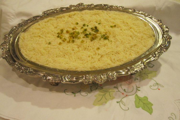 Heavenly Kanafe.... A Syrian Dessert made with Ricotta & Shredded Filo Dough