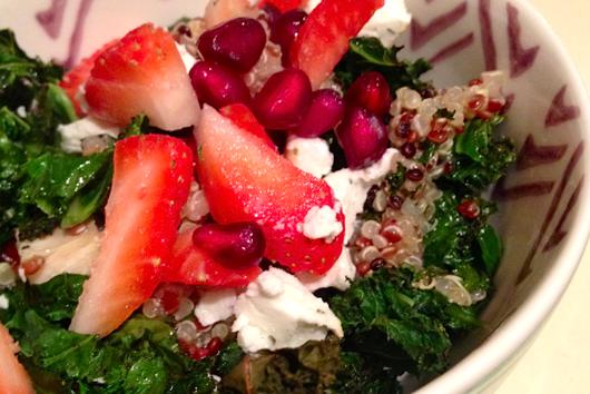 Quinoa Salad With Strawberries, Goat Cheese & Crispy Kale