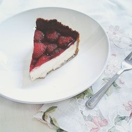 Roasted Strawberry, Hibiscus and Yoghurt Tart