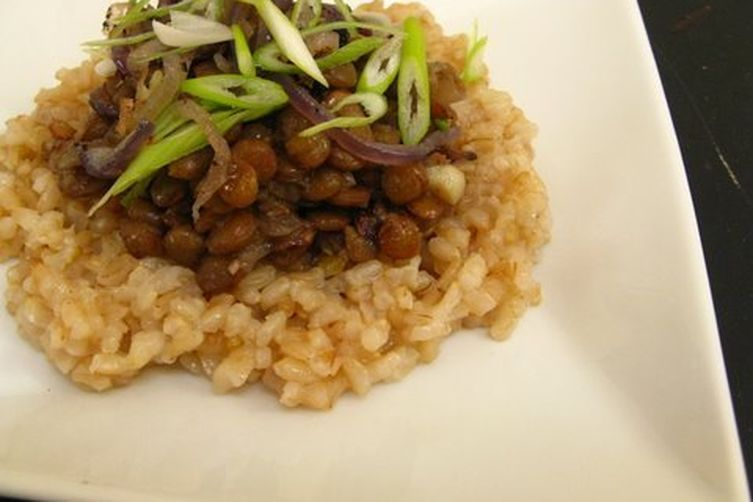 Sephardic Megedarra with Garlicky Brown Rice Pilaf
