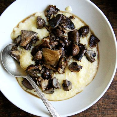 Roasted Mushrooms with Sherry + Creamy Polenta