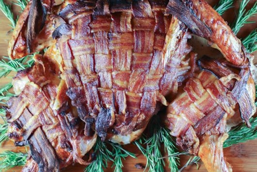 Bacon-wrapped, Spatchcocked Turkey in 80 Minutes