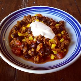 Ground Pork, Bacon and Black Bean Chili with Spicy Lime Sour Cream