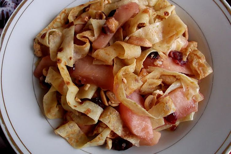 Breakfast Crepes with Caramelized Apples, Cranberries and Nuts