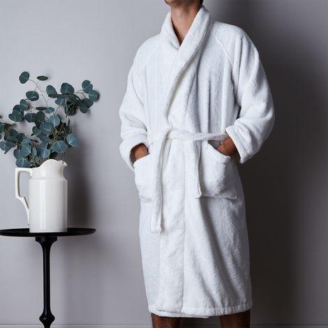Unisex White Plush Bathrobe