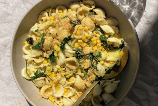 Creamy Corn Pasta With Coconutty Greens