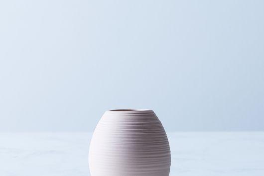 Matte Ceramic Ribbed Bud Vase