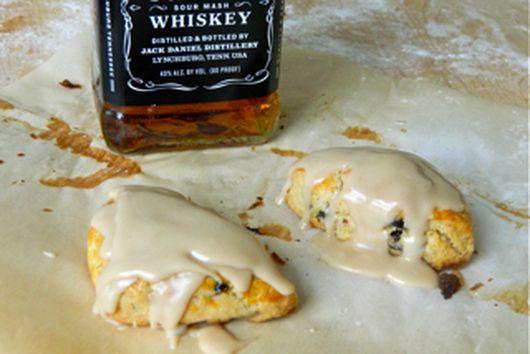 Spiked Cherry Scones with Bourbon Vanilla Glaze