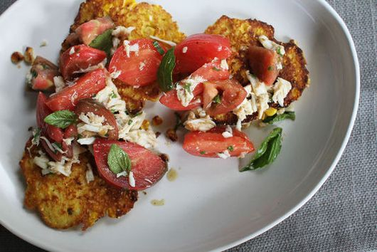 Fresh Corn Cakes with Crab + Tomato Salad