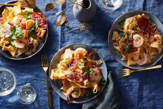 Champagne Alfredo with Crispy Prosciutto & Shrimp