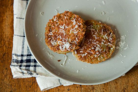 Fried Green Tomatoes with Panko and Parmesan -- spiky panko makes the ...