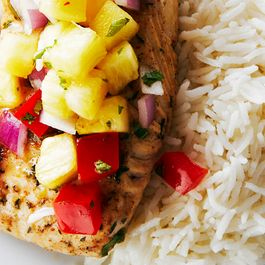 Jerk Cod with Pineapple Salsa and Coconut Rice