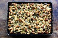 Sheet Pan Stuffing with Brussels Sprouts and Pancetta
