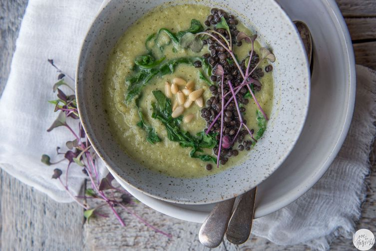 Creamy Broccoli Lemon Soup with Miso and French Lentils