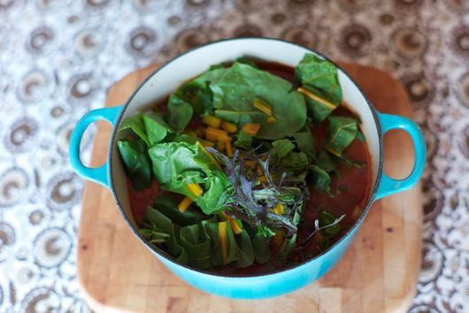 Sausage and Greens Soup With Cornmeal Dumplings For Zora Neale Hurston