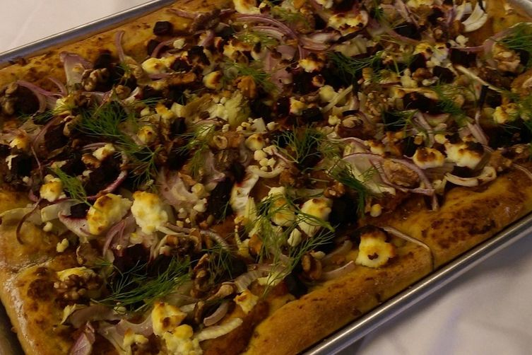 Roasted Carrot Pizza with Fennel, Red Onion, Beets, Goat Cheese, and Walnuts