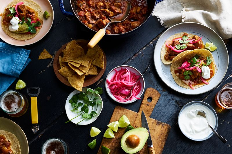 A beautiful spread of tacos doesn't look quite as photogenic from the pot.