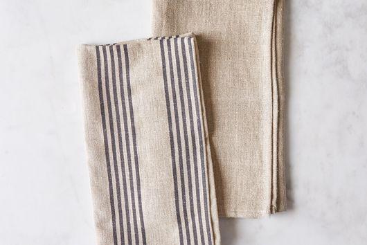 French Oatmeal Linen Classic & Stripe Tea Towels (Set of 2)