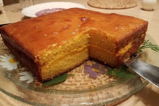 Triple Mango cake, with Mango curd