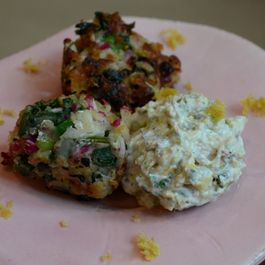 Radish Fritters with Pistachio-Yogurt Sauce