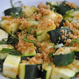 Lemon Basil Roasted Summer Squash with Garlic Crisp