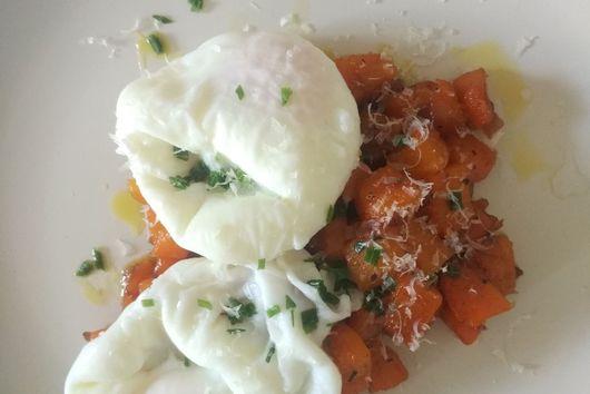Butternut Squash & Shallot Hash w/Poached Eggs
