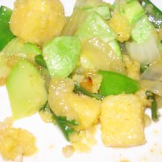 Summer Squash Sautéed with Polenta Chunks and Snow Peas